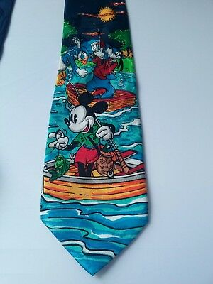 Tie Novelty Cartoon Disney Mickey Mouse and Friends Fishing Trip