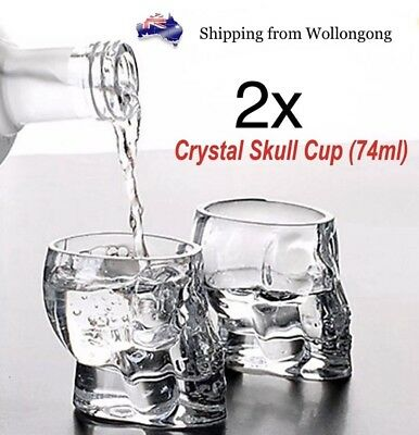 2x 3D Crystal Skull Head Shot Glasses Cup Vodka Whiskey Alcohol Drinking Party