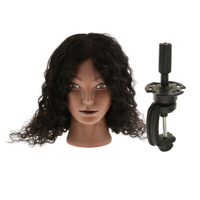 Cosmetology Silicone Human Hair Practice Mannequin Head w/ Adjustable Clamp