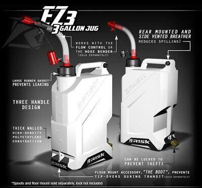 RISK RACING EZ3 3 Gallon Gas can Utility jug Flow Control spout and Floor Mount