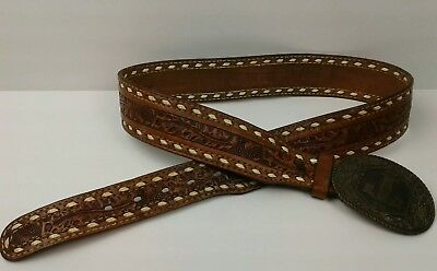 Vintage Hand Tooled Western Leather Belt Solid Brass Buckle T Terry 38