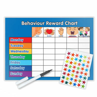 BEHAVIOUR REWARD TRAINING REWARD CHART x2 WITH PEN & STAR STICKERS - Pink/Blue