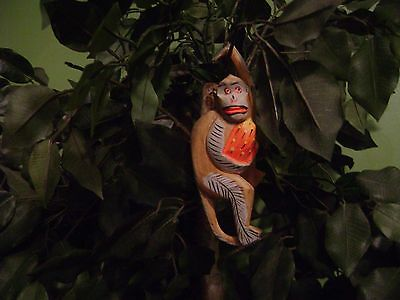 Vintage Wood Wooden Hanging Monkey Caribbean Tropical 7""