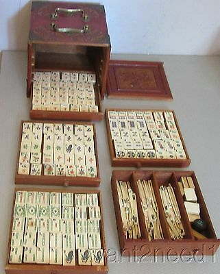 antique Chinese MAH JONG SET complete bamboo bovine bone carved 5-drawer chest