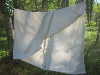 Lovely Antique French heavy HEMP SHEET handloomed red MONO MD rustic  - organic!
