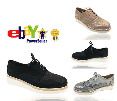 Womens Ladies Lace Up Metalic Platform Traine Flat Brogues Loafers Creepers Size
