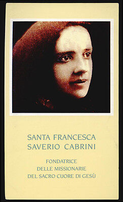santino-holy card*S. FRANCESCA SAVERIO CABRINI