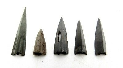 Lot Of 5 Ancient Bronze Scythian Arrow Heads - Historical Artifacts Lovely B458