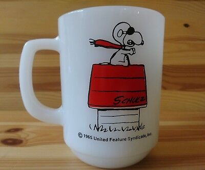 "NEW VINTAGE Anchor Hocking Snoopy ""Curse You Red Baron"" Coffee Mug Fire King"