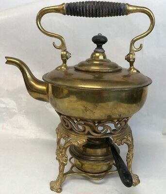 Antique Brass Tea Pot Kettle with Ornate Stand and Burner  by S&C TRADE MARK
