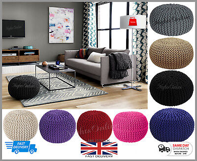 Large Knitted Pouffe Chunky Knit Foot Stool Cushion Moroccan 100% Cotton