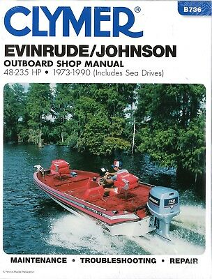 1973 1990 EVINRUDE Johnson 2/4 Stroke 48-235 Outboard Clymer Repair