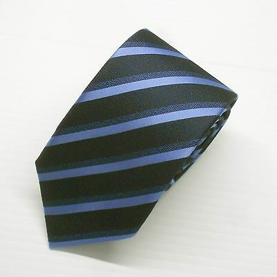 NWT Battisti Napoli Silk Tie in Navy and Light Blue Stripes Made in Italy