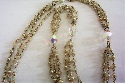 """Vintage Glass Beaded Necklace 3 Strand Faceted Cut Crystal Aurora 13.5"""" Long"""