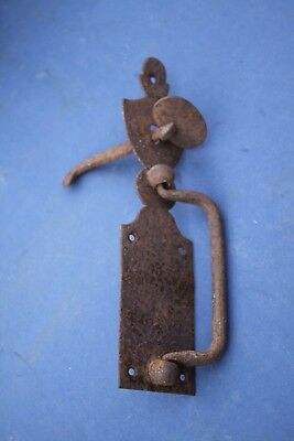2. ANTIQUE WROUGHT IRON DOOR HANDLE, 18th / 19th Century Handle latch