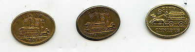 Set of 3 transport tokens Liverpool, Warwickshire, Leicestershire