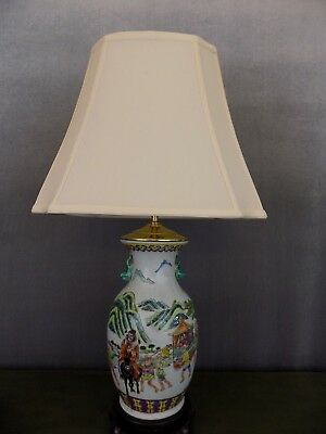 Rare Pair Of Antique Kang-Xi (1662-1722) Porcelain Vase Lamps Late Qing Dynasty