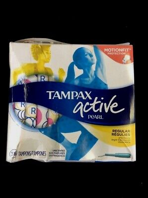 Tampax Pearl Active Plastic, Regular Absorbency, Unscented Tampons 36 ea