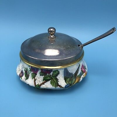 Royal Tudor Ware Lorna Doone Lidded Jam Pot Gold Trim Barker Bros Ltd Blue Bird