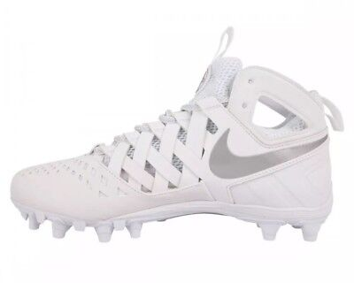 $100 Nike Men's Huarache V Lax Lacrosse Cleat Size 11 White 807142-100 NEW!