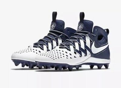 $100 Nike Men's Huarache V Lax Lacrosse Cleat Size 12 Navy/White  807142-410 NEW