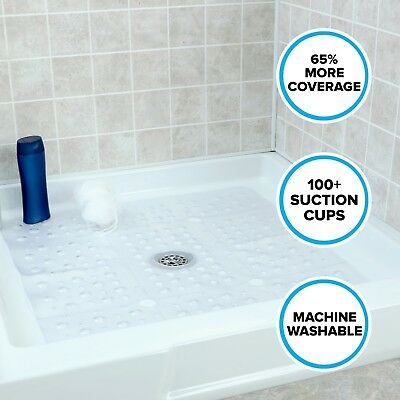 "65% MORE COVERAGE! SlipX Solutions Clear Extra Large Shower Mat (27"" Diameter)"