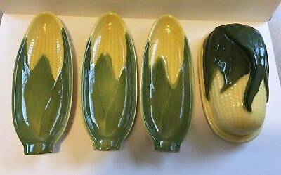 Vintage Shawnee Pottery Corn Butter Dish and Three Corn Holders, 72 and 79