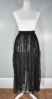 Retro 90s Contempo Casuals Black Lace Maxiskirt Small