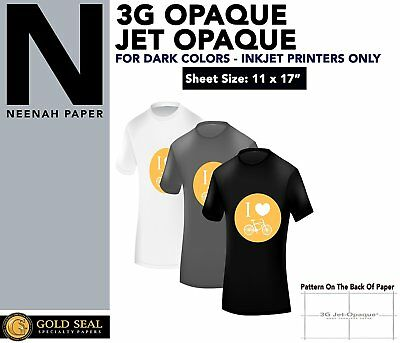 "IRON ON HEAT TRANSFER PAPER 3G JET OPAQUE 11 x 17"" CUSTOM PACK 10 SHEETS"