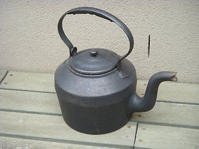 Antique Cast Iron Kettle with Lid