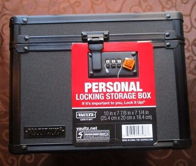 "New Vaultz Locking Storage Box, 7.8"" x 7.2"" x 10"", Tactical Black (VZ03588)"