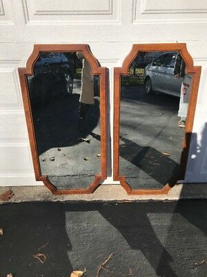 Pair Of Vintage French Provincial Style, Burled Wood Frame, Mid Century Mirrors