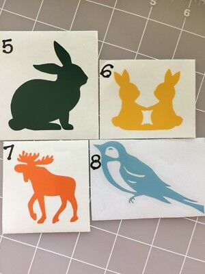 Animal Vinyl Decals Bunny/Moose/Bird Select Style,Color And Size
