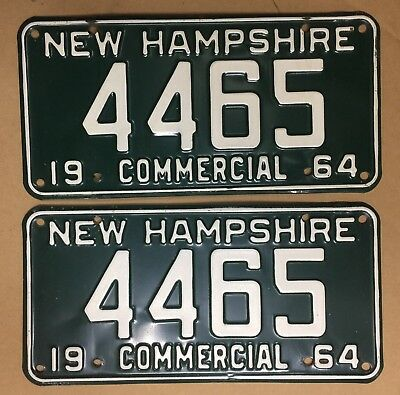 1964 NEW HAMPSHIRE Commercial License Plate Tags Pair 64 NH - YOM Clear 4465