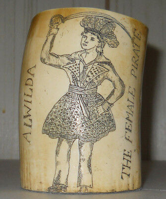Vintage Faux Scrimshaw Whales Tooth Shaving Cup ALWILDA Female PIRATE GIBBS 1837