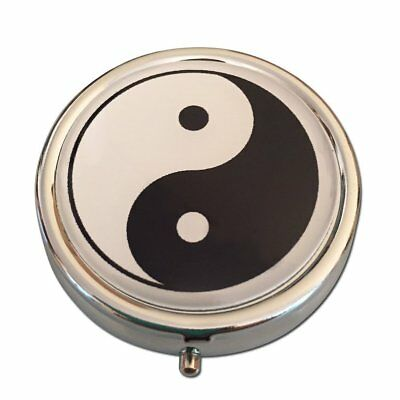 Yin and Yang Three Compartment Pocket/Purse/Travel Pill Box Case Black and White