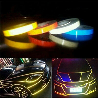 Hot 2cm/1cm*5m Car Truck Fluorescent Reflective Warning Safety Sticker Roll Tape