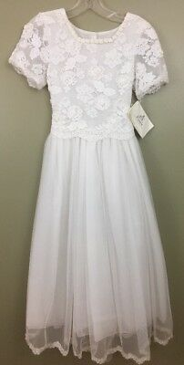 Posies Of Maine Special Occasion Girls Sz 12 Dress White Lace Tulle Wedding RARE