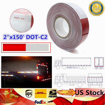 """2""""x150' DOT-C2 Reflective Conspicuity Tape Safety Trailer Truck 6""""red/6"""" White"""
