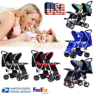 Baby Jogger Folding Lux Twin Tandem Double Stroller Second Seat Buggy Pushchairs