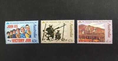 1991 Australia In Memory Of Those Who Served Set Of 3 Mint MUH
