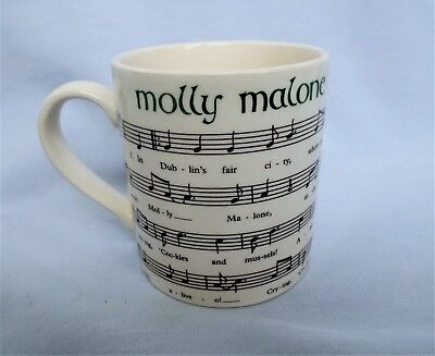 Vintage Carrigaline Pottery Ireland Mug Molly Malone Music & Words St Patrick's