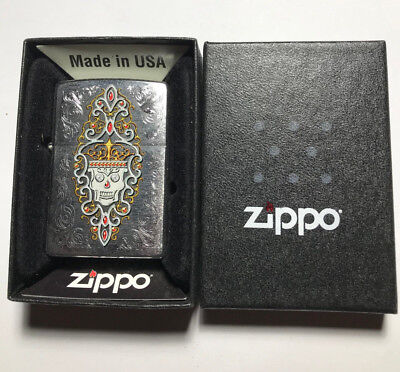 Zippo 28794 Day Of The Dead Jeweled Skull Chrome Lighter New In Box