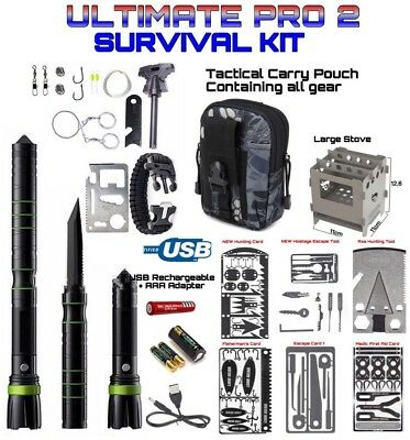 .Survival Ultimate Pro Kit 5 Cards 1 Axe 2 Escape Tools 1 Large Stove Black