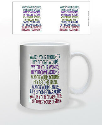 Watch Your Thoughts 11 Oz Coffee Mug Tea Cup Motivation Inspiration Quotes Inspo