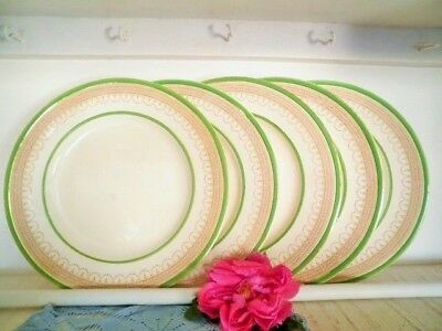 Antique Dinner Plates X5 Green Gold Burleigh Ware Burgess & Leigh England