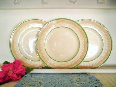 Antique Entree Plates X3 Green Gold Burleigh Ware Burgess & Leigh England