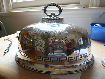 Antique Silver Plated Meat Food Dome Cover.