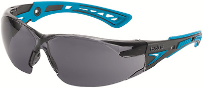 Bolle RUSH PLUS SAFETY SPECTACLE Black/Blue Frame, SMOKE Lens *Australian Brand
