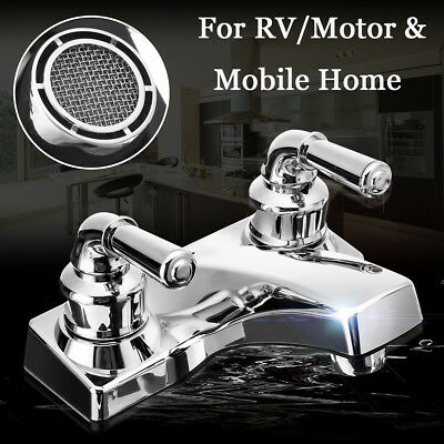 Dual Handle / Hole Bathroom Hot & Cold Sink Lavatory Faucet For RV / Mobile Home